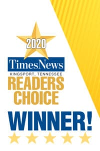 gold and blue image of a star with text that says 2020 Times News Kingsport Tennessee Readers Choice Winner