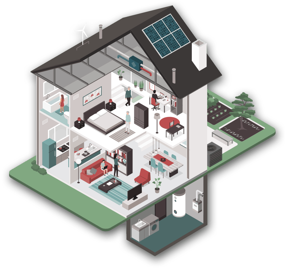 illustration of a house with interior levels visible